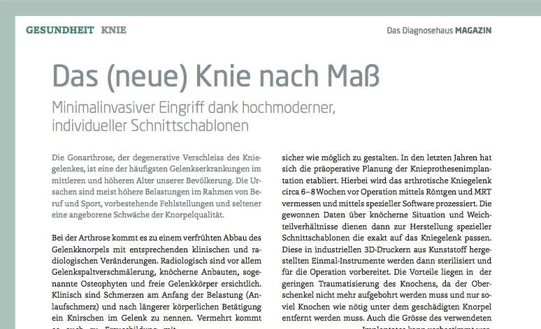 PDF Diagnosehaus MAGAZIN - Das (neue) Knie nach Maß